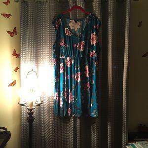 Torrid Green Floral sleeveless short dress